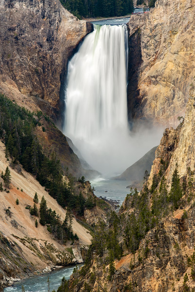 Lower Falls of the Yellowstone River, seen from Artist Point. Yellowstone National Park.