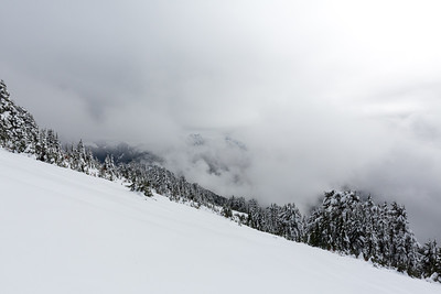 ~10 minutes downhill from the summit. Dense clouds are just a few hundred yards East and setting in.