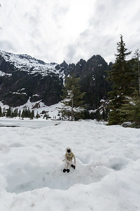 Rally Monkey in front of Heather Lake