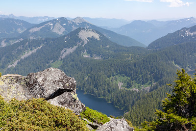 Summit of Mt. Defiance. Looking down on Lake Kulla Kulla with Pratt Mountain and Granite Mountain behind it.