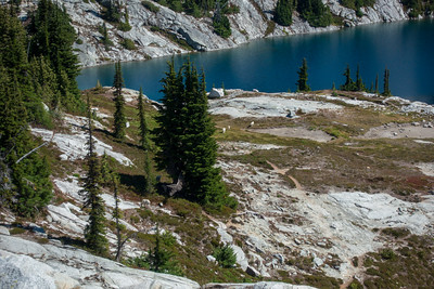 Looking down over Robin Lakes and a small herd of mountain goats