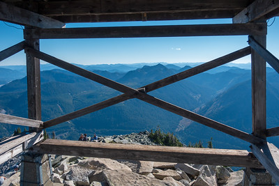 Looking through the base of the fire lookout across the valley toward Silver Peak.