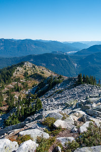 Looking back down the climber's/winter route up to Granite Mountain