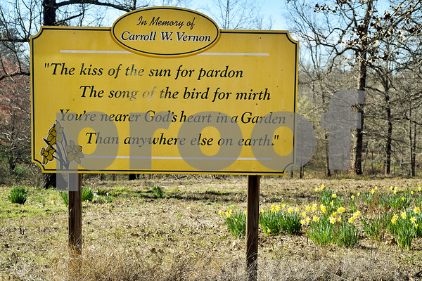 A sign with a poem at Mrs. Lee's Daffodil Garden in Gladewater, Texas, on Tuesday, March 6, 2018. The original daffodils were brought in from Holland years ago and have continued to grow and thrive on the land. (Chelsea Purgahn/Tyler Morning Telegraph)