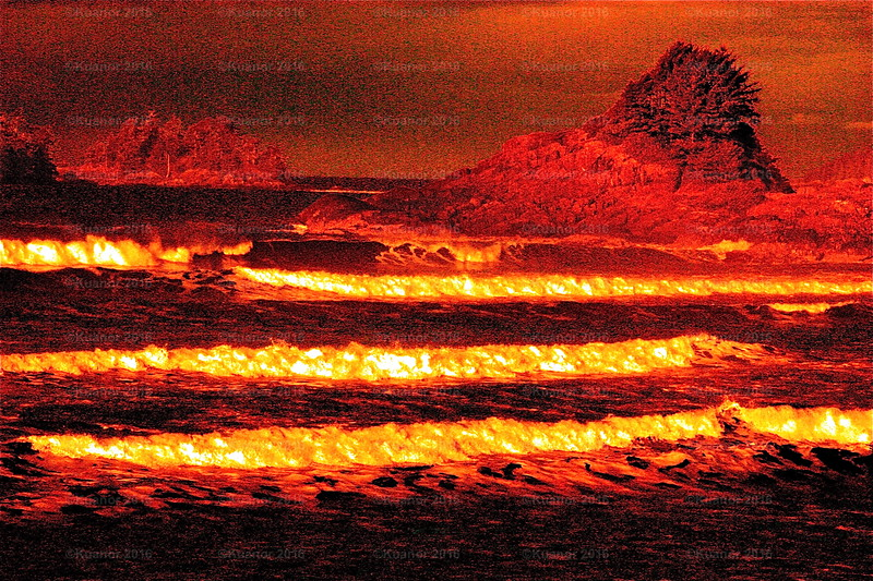 Oceanfire<br /> A red-filtered view of the Pacific at dawn makes it glow like crusting lava. That heavy, leaden sky was our first sign of a colossal storm approaching the coast.