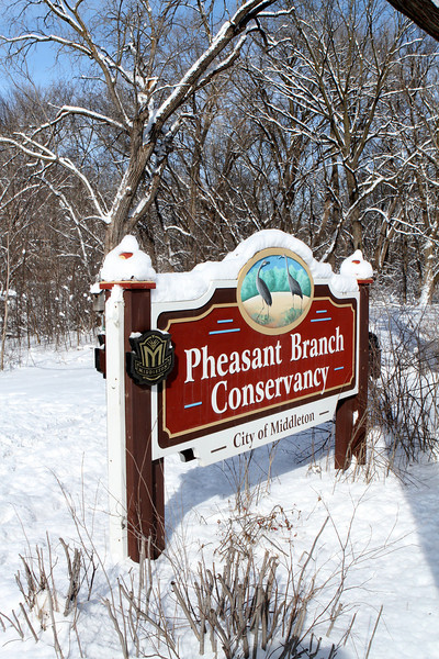 One of the entrances to the Pheasant Branch Conservancy and just a few minutes walk from our front door.