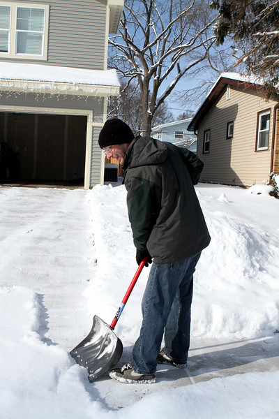 Amherst Road neighbor Jeff clearing the sidewalk.