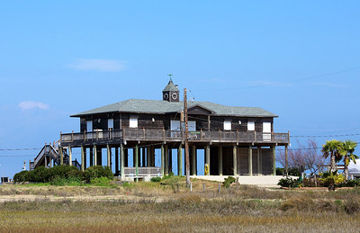 A west Galveston house on high stilts