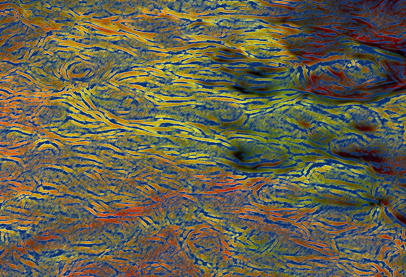 Photoshop effects applied to an image of ripples on a river.