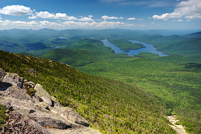 Lake Placid and Mirror Lake from the top of Whiteface Mountain