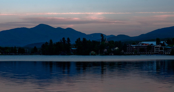 Dusk at Mirror Lake, Lake Placid, NY