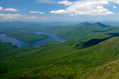 View of Lake Placid from the top of Whiteface Mountain