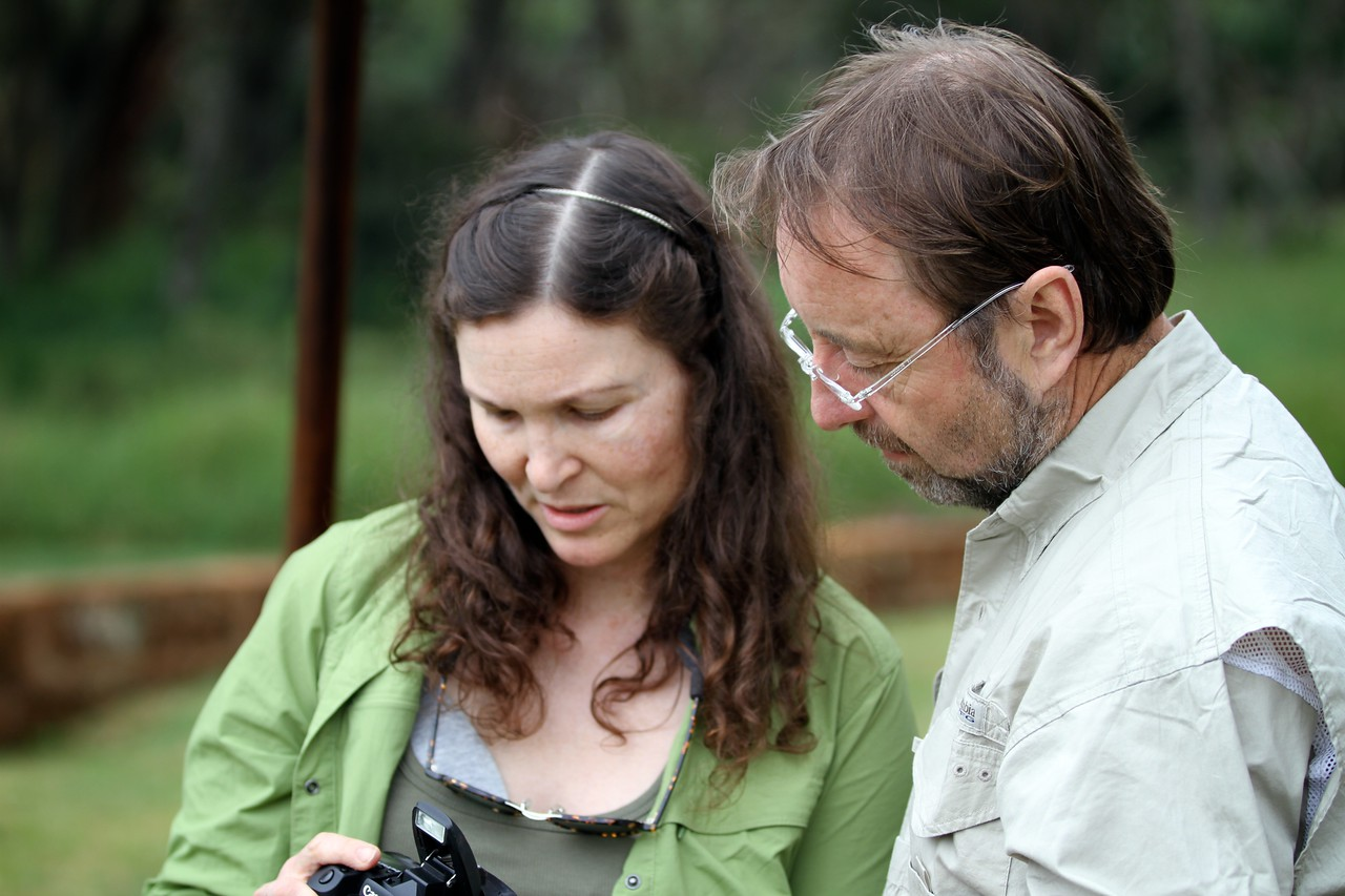 Kris with Frans Lanting, Giraffe Manor, Nairobi
