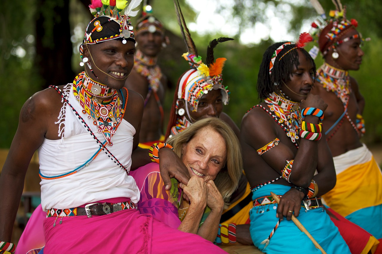 Oria Douglas-Hamilton with Samburu warriors, Samburu, Kenya