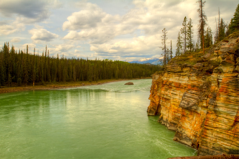 Athabasca River<br /> Athabasca River, just below Athabasca Gorge, Jasper National Park, Alberta, Canada