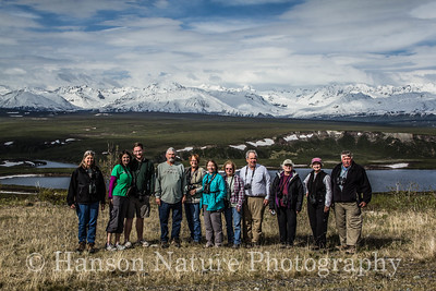 TOS Birding Group - Old Denali Hwy, Ak L>R Beth, Rachel, Bryan, David, Betty, Deb, Jan, Tillman, Margy, Judy, Jack