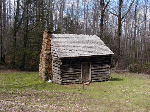 Willis Baxter Cabin along Maddron Bald Trail heading toward Albright Grove.<br /> Circa 1889.<br /> <br /> GSMNP TN