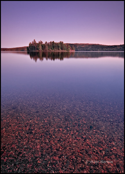 <h3>Lake of Two Rivers. Algonquin Ont.</h3> <h5>Canon40D, Sigma10-20 at 10mm, Lee0.9hard grad & Sing Ray LB polarizer,<br> 390s at f/5.6</h5>
