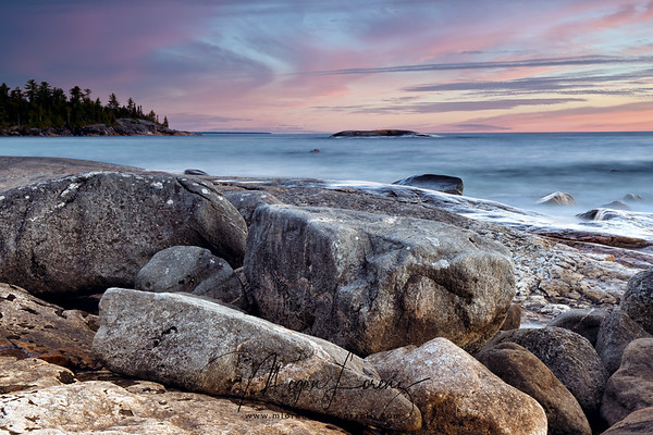 Sunset in Lake Superior Provincial Park in Ontario, Canada.