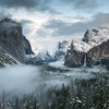 Tunnel View at Yosemite National Park around sunset just after a winter storm