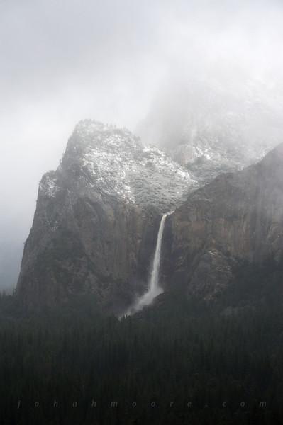 Bridalveil Falls in fog -- Yosemite National Park