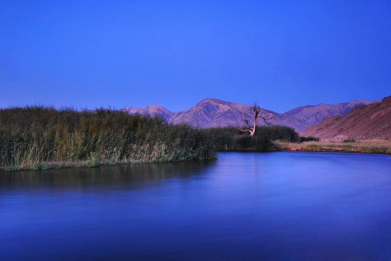 "An oxbow in the Owens River, below the Eastern Sierra Nevada Mountains, in the predawn ""blue hour"""