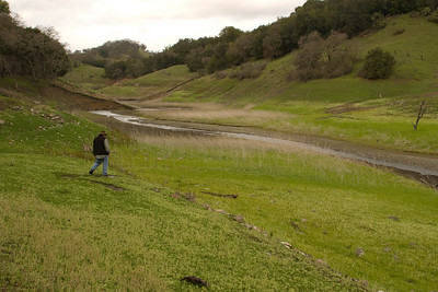 As Steph explores, we could easily see the erstwhile high-water line (where the lowest trees/shrubs are).