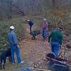 A winter work day on the trail spreading gravel near Kent Gardens.