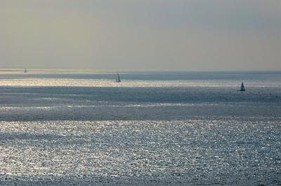 Sail boats off the coast of Palos Verdes, CA