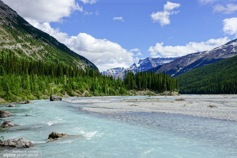 A beautiful valley south-east of Columbia Icefield along Icefields Parkway.