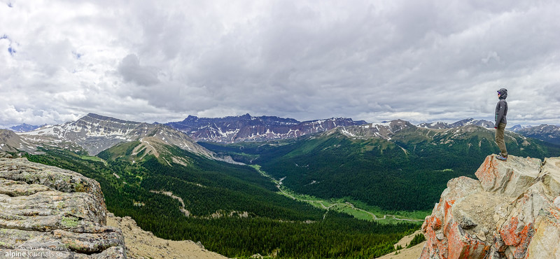 Views from Bald Hills (2170 m). The broad summit offers fine views over Maligne Lake and the surrounding mountain ranges.
