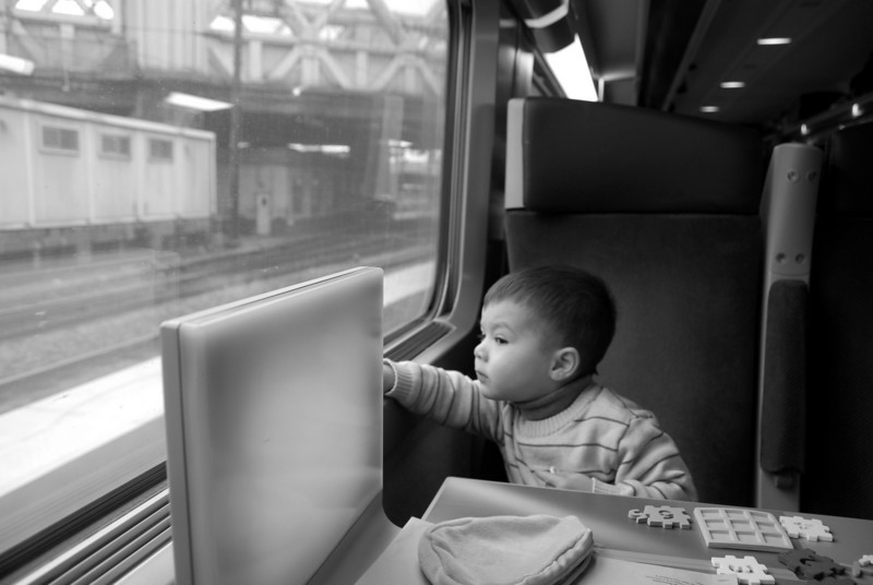 SB:  Michael looking out the window of the TGV