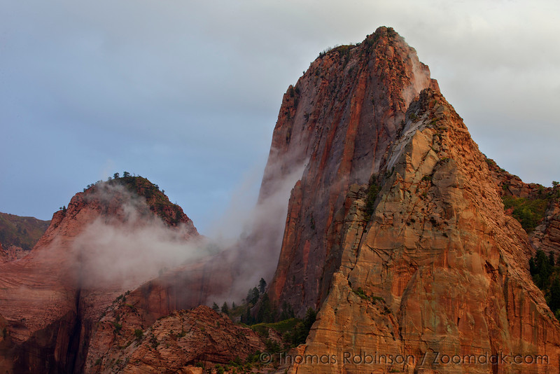 Clouds form around Shuntavi Butte and Timber Top Mountain in Kolob Canyon in Zion National Park.