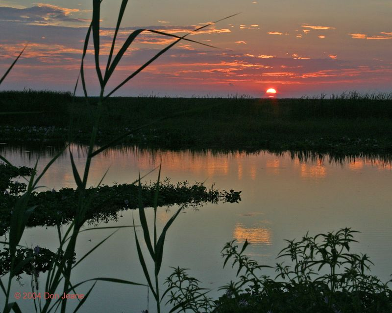 Sunset over Shoveler Pond - Sept 2004.