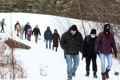 Dracut Land Trust's annual Town of Dracut birthday hike, on Tranquility Trail from Broadway Road. (SUN/Julia Malakie)
