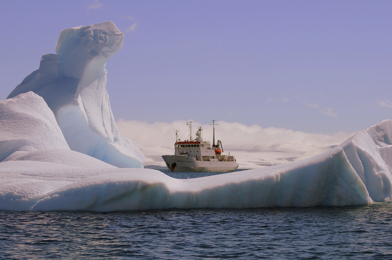 Our mighty vessel, the Professor Multanovskiy, cradled in ice