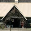 Wisteria vines outside the barn