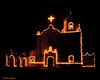 Christmas lights, Mission Espíritu Santo at Goliad State Park, 12/1995.