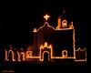 Christmas lights, Mission Espíritu Santo at Goliad State Park, 12/1995.