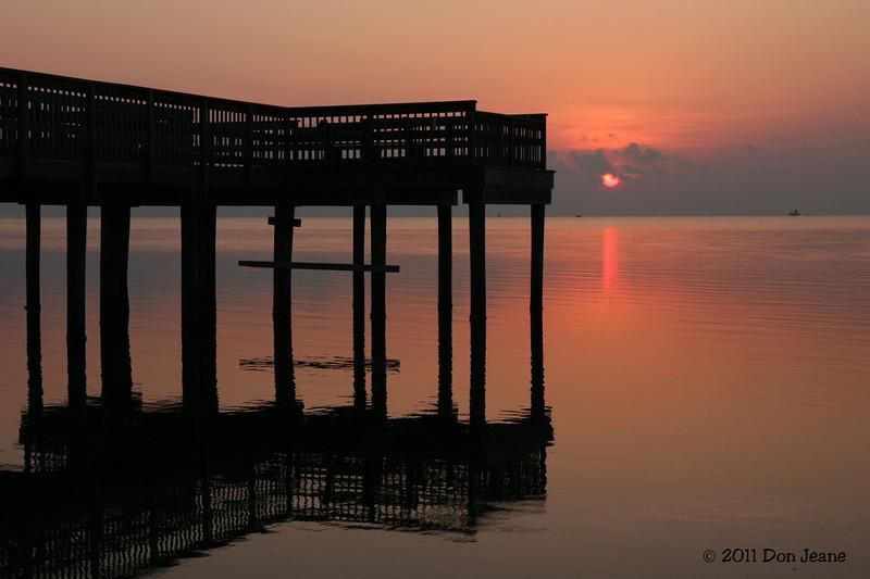 Fishing pier at sunrise, 8/20/2011, Aransas Natl Wildlife Refuge.