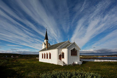 Church at Nesseby, Varanger in arctic Norway.