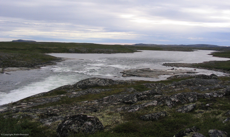 This is the Inukjuak river which is 18 miles long coming from the east and dumping into the Hudson Bay with several rapids on it's way