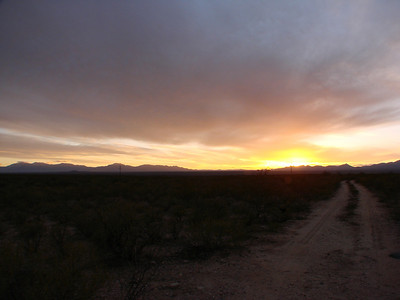 Arizona Sunset, Rt. 80, 10 miles north of Tombstone, 2009, Dec. 6