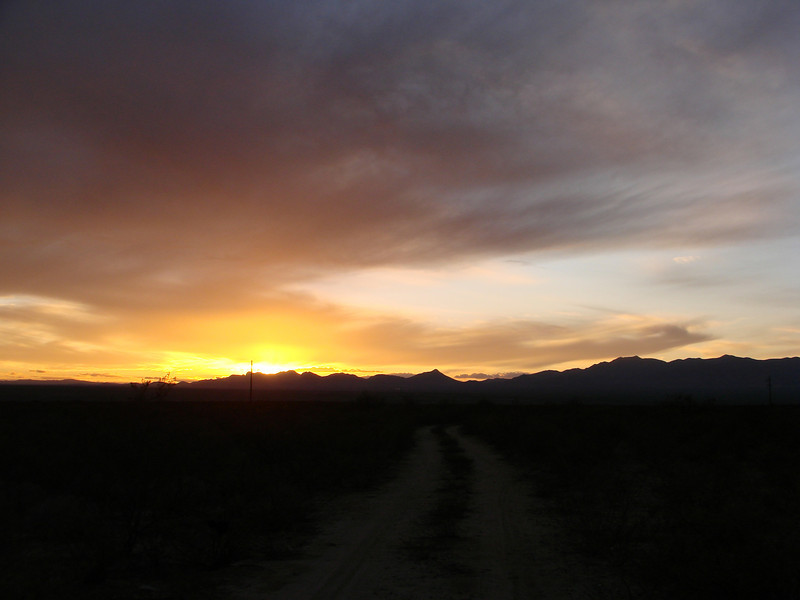 Arizona Sunset, Rt. 80, 10 miles north of Tombstone, 2009, Dec. 6
