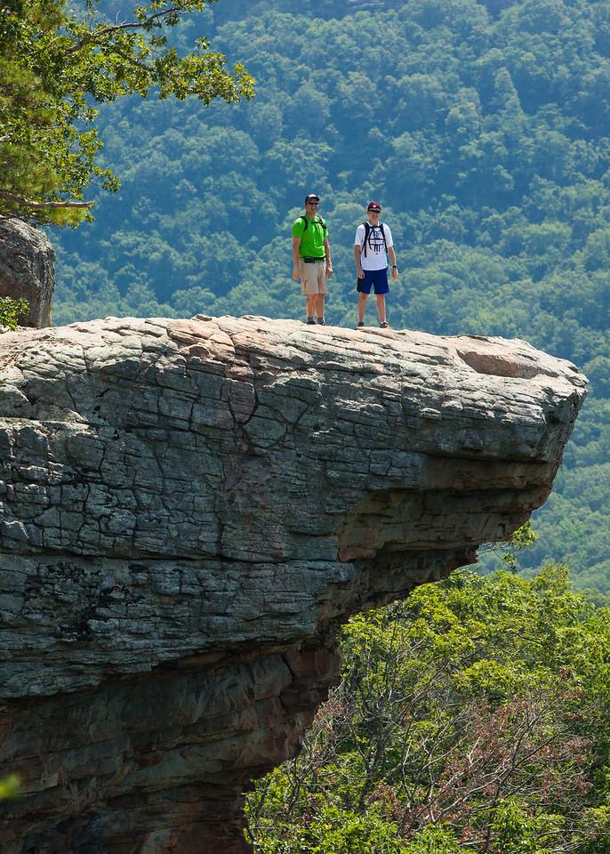 Hikers on Hawksbill Crag