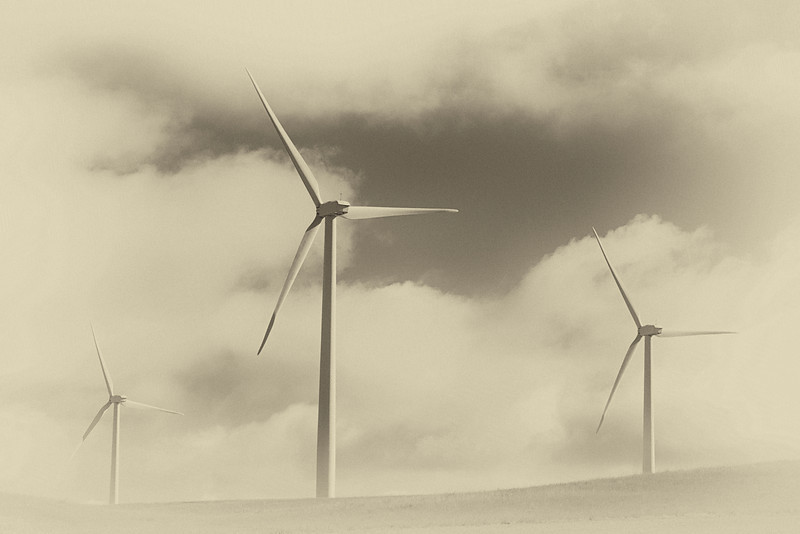 Montana Power (Sepia)<br /> Wind turbines off HWY 191