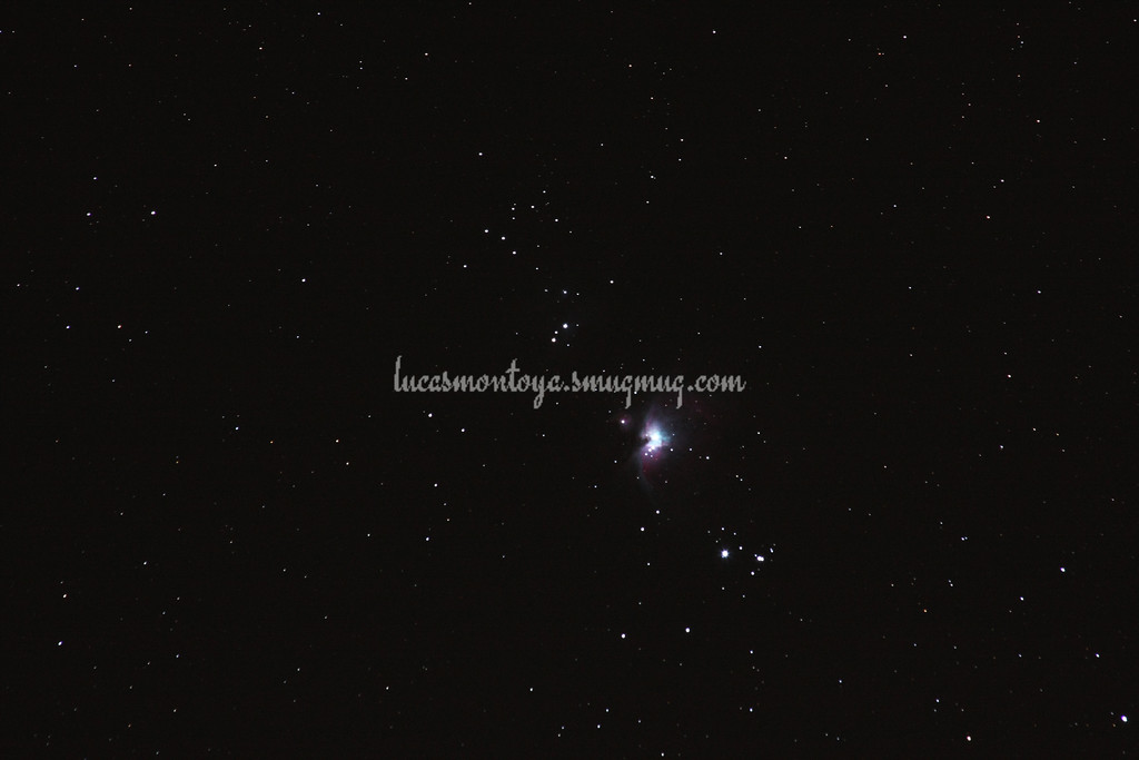 'Sword' of Orion Constellation, with zoomed Orion Nebula (M42) — Peyton, Colorado.
