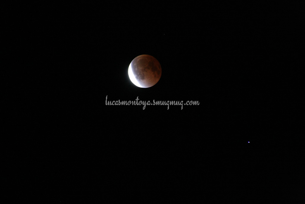 2014-04-15 Lunar Eclipse; exiting out of total eclipse. Spica is star at lower right of moon.
