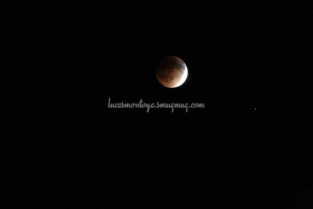2014-04-15 Lunar Eclipse; about 3/4 into full eclipse. Spica is star on lower right of moon.