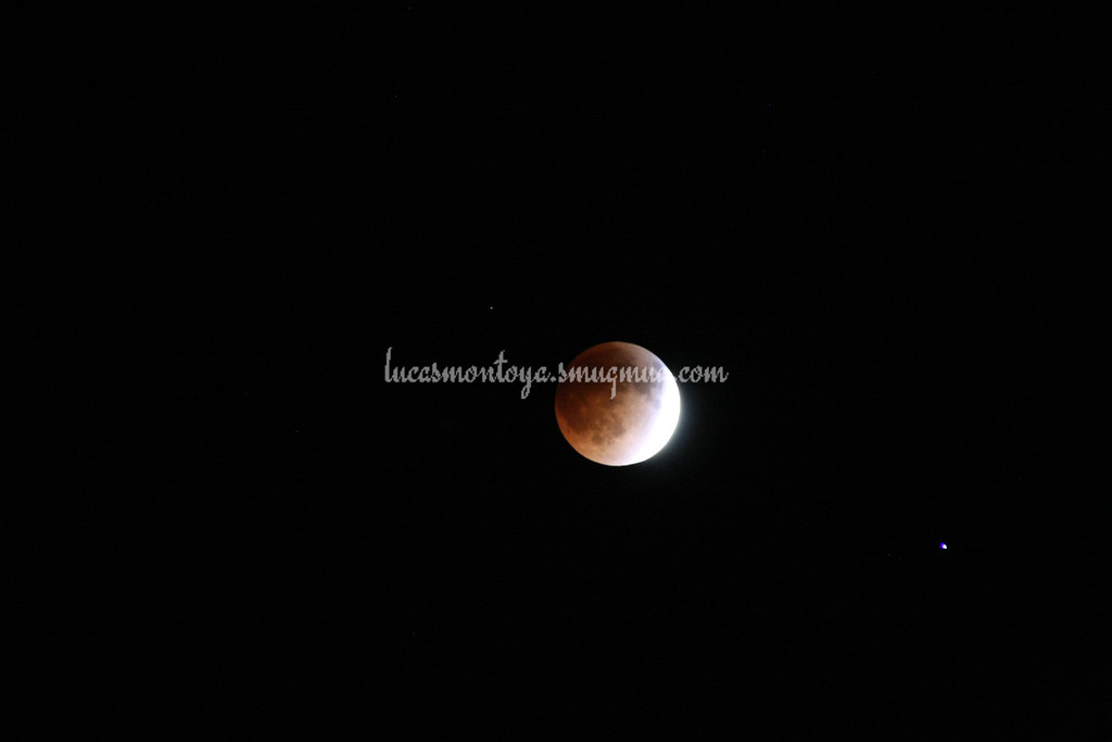 2014-04-15 Lunar Eclipse; about 3/4 into full eclipse. Spica is star on lower right of moon